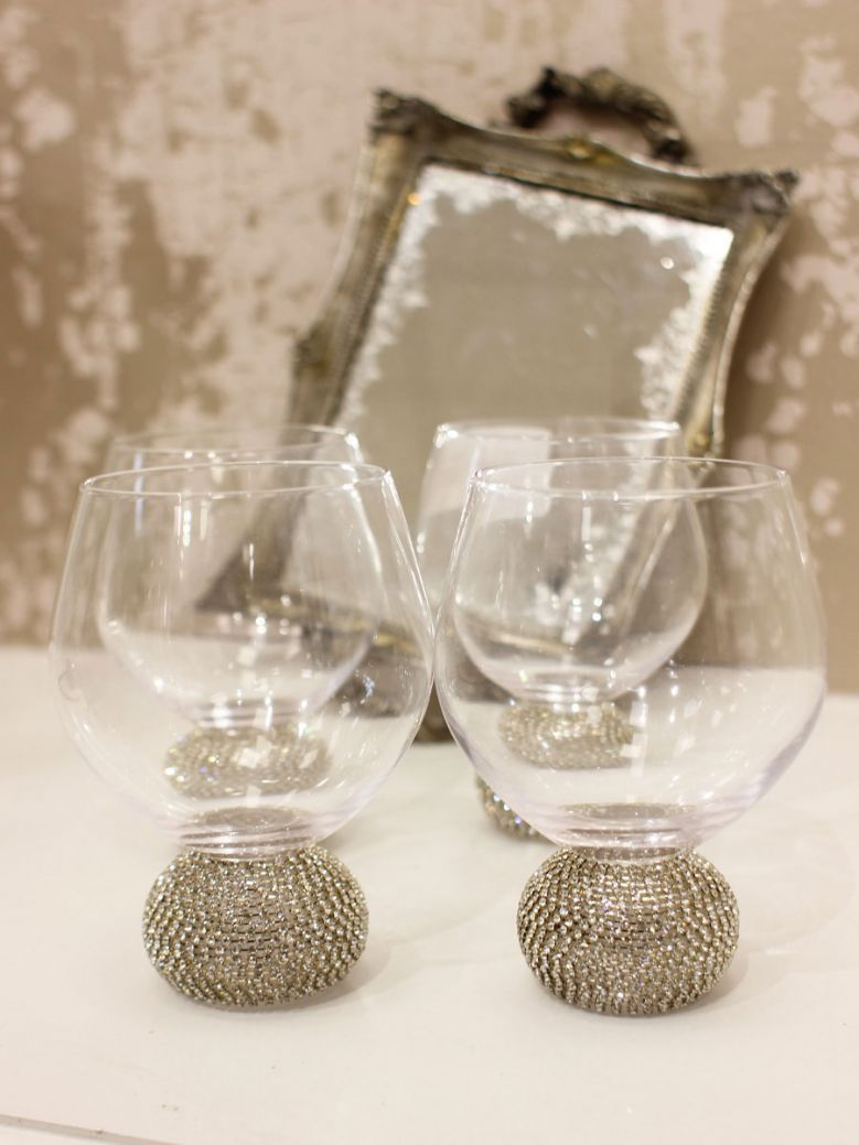 Set of 4 Silver Diamante Dining Glasses