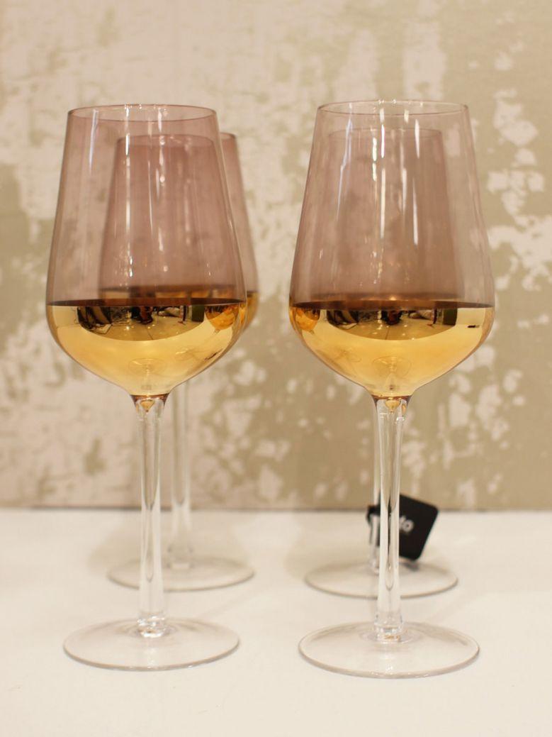 Set of 4 Pink & Gold White Wine Glasses