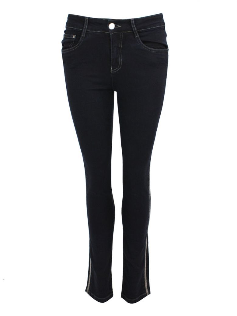 Tricotto Beaded Trim Straight Jeans