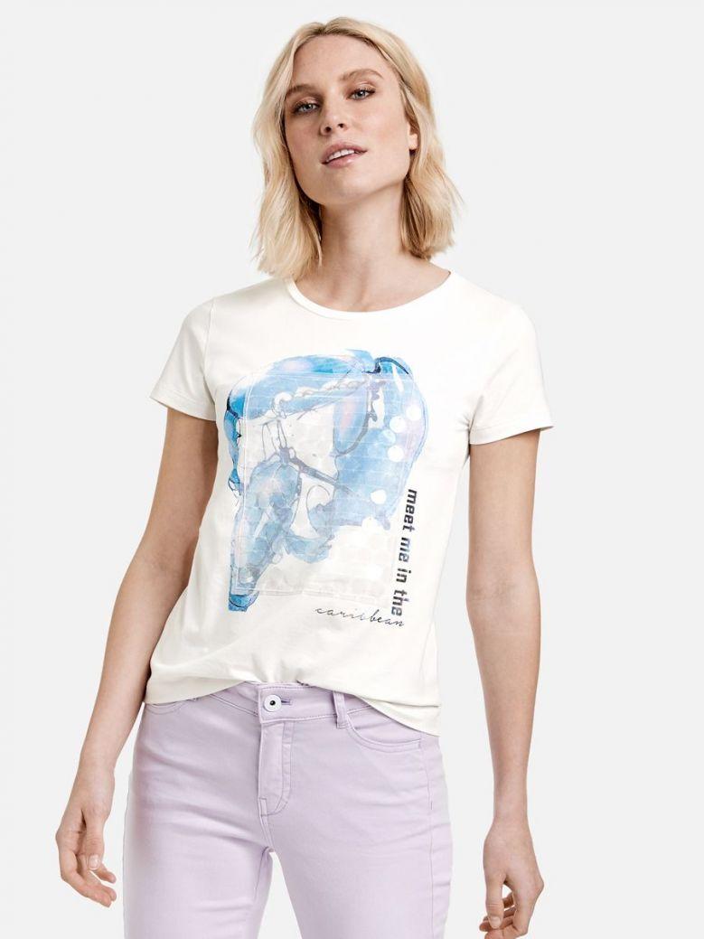 Taifun Printed Short Sleeve T-Shirt White