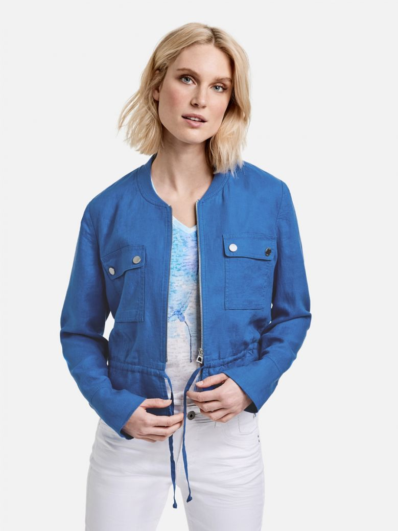 Taifun Short Linen Jacket Caribbean Blue