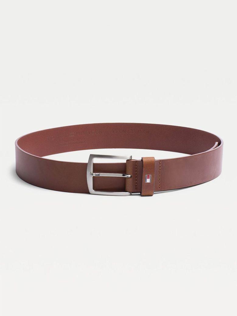 Tommy Hilfiger Denton Flag Logo Leather Belt Brown