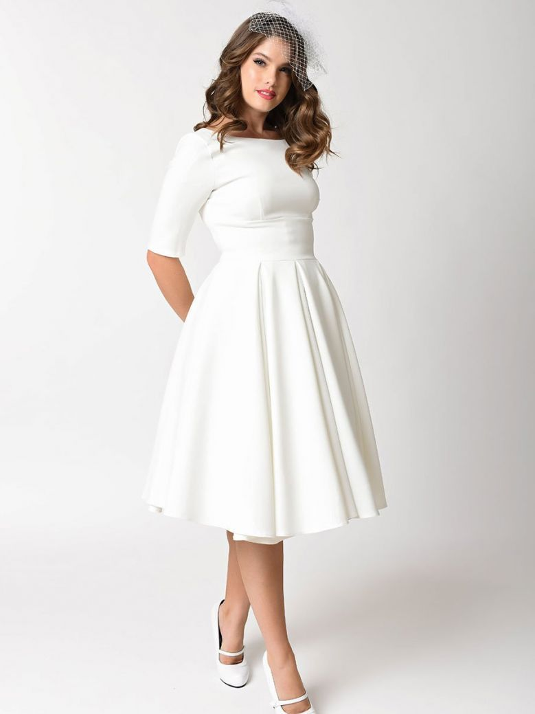 The Pretty Dress Company Hepburn Mid Sleeved Swing Dress Ivory