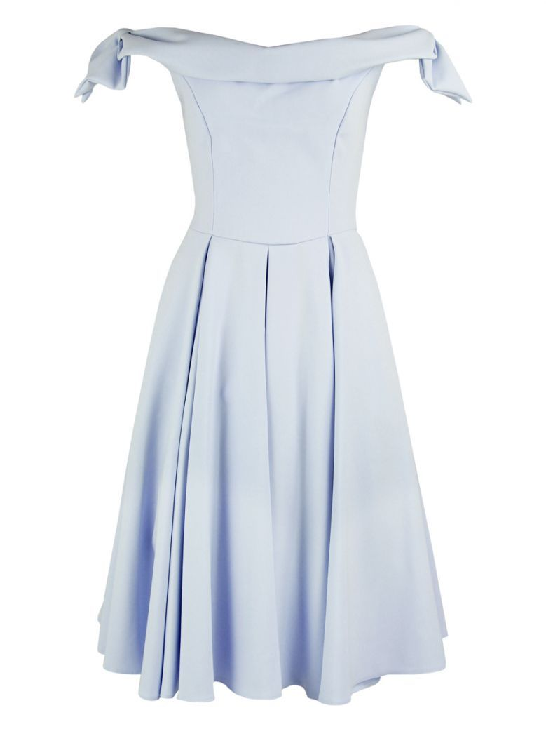 The Pretty Dress Company Tilly Off The Shoulder Midi Dress Ice Blue