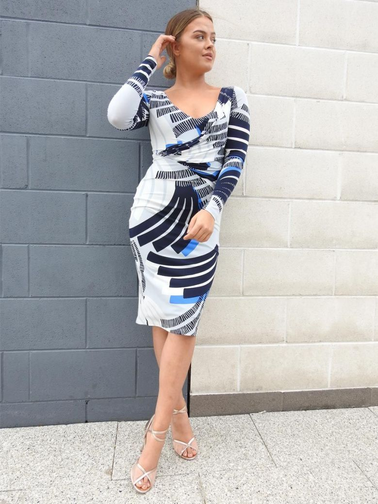 Tia Abstract Print Fitted Dress Blue Multi