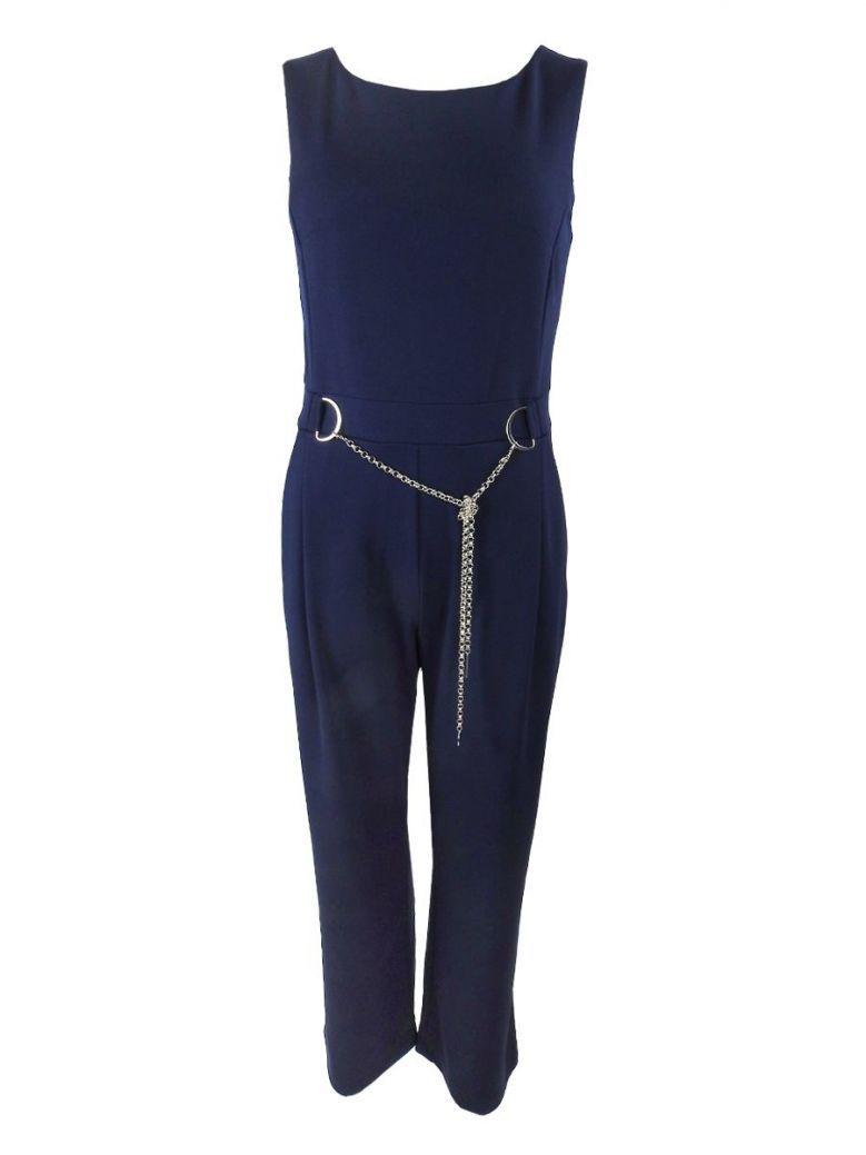 Tia Chain Belt Jumpsuit Navy