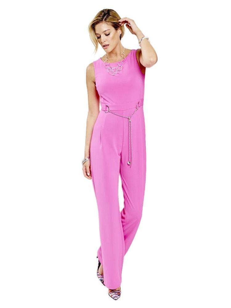 Tia Chain Belt Jumpsuit Pink