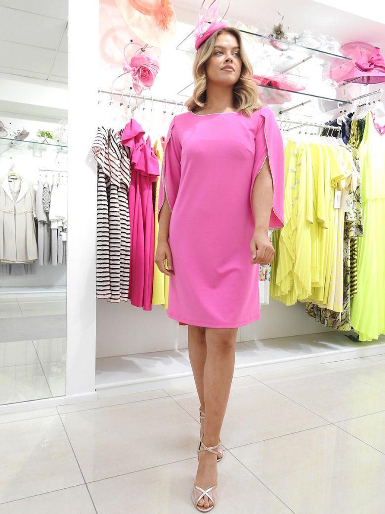 Tia Embellished Open Sleeve Shift Dress Pink