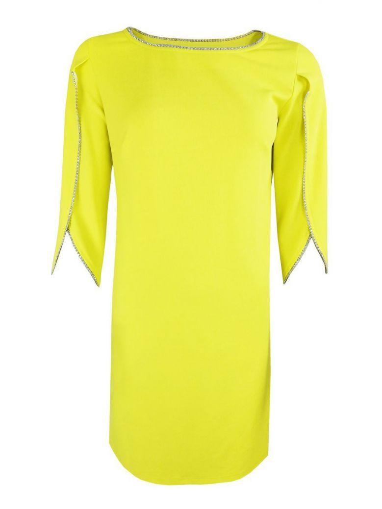 Tia Embellished Open Sleeve Shift Dress yellow
