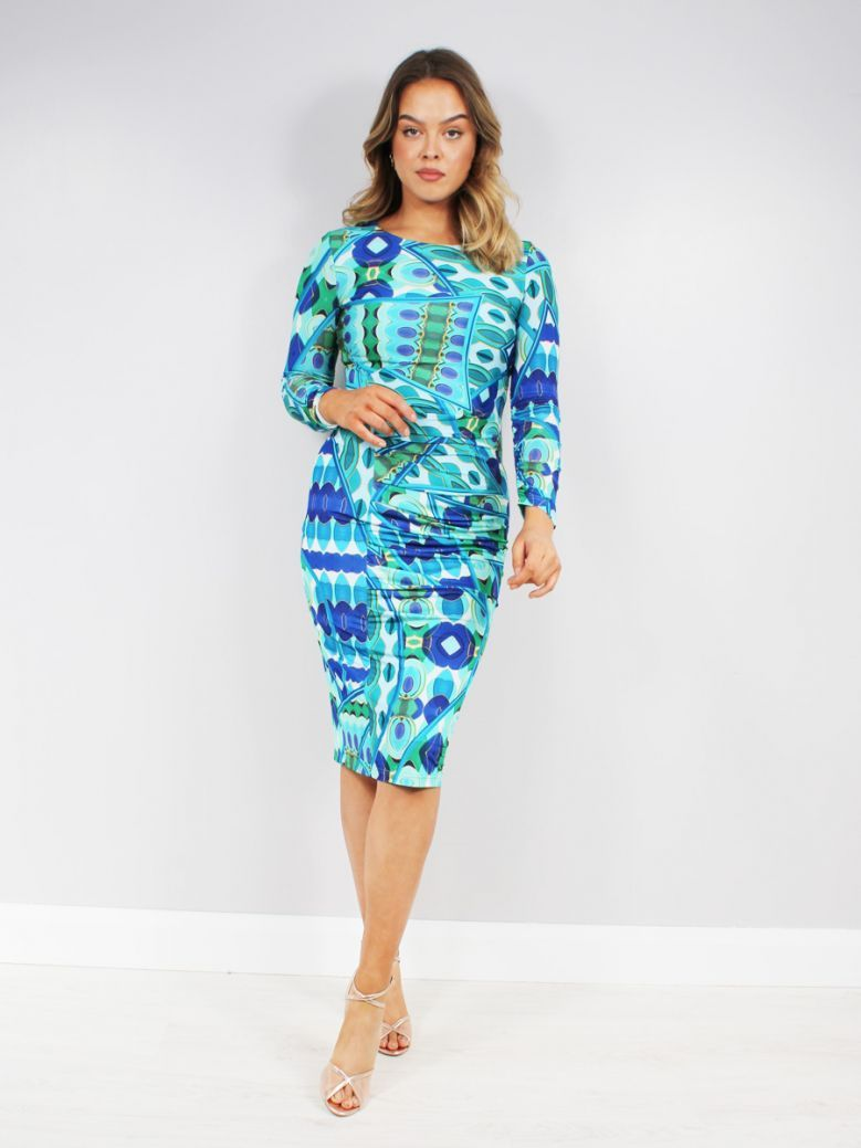 Tia Fitted Dress with Ruching Blue