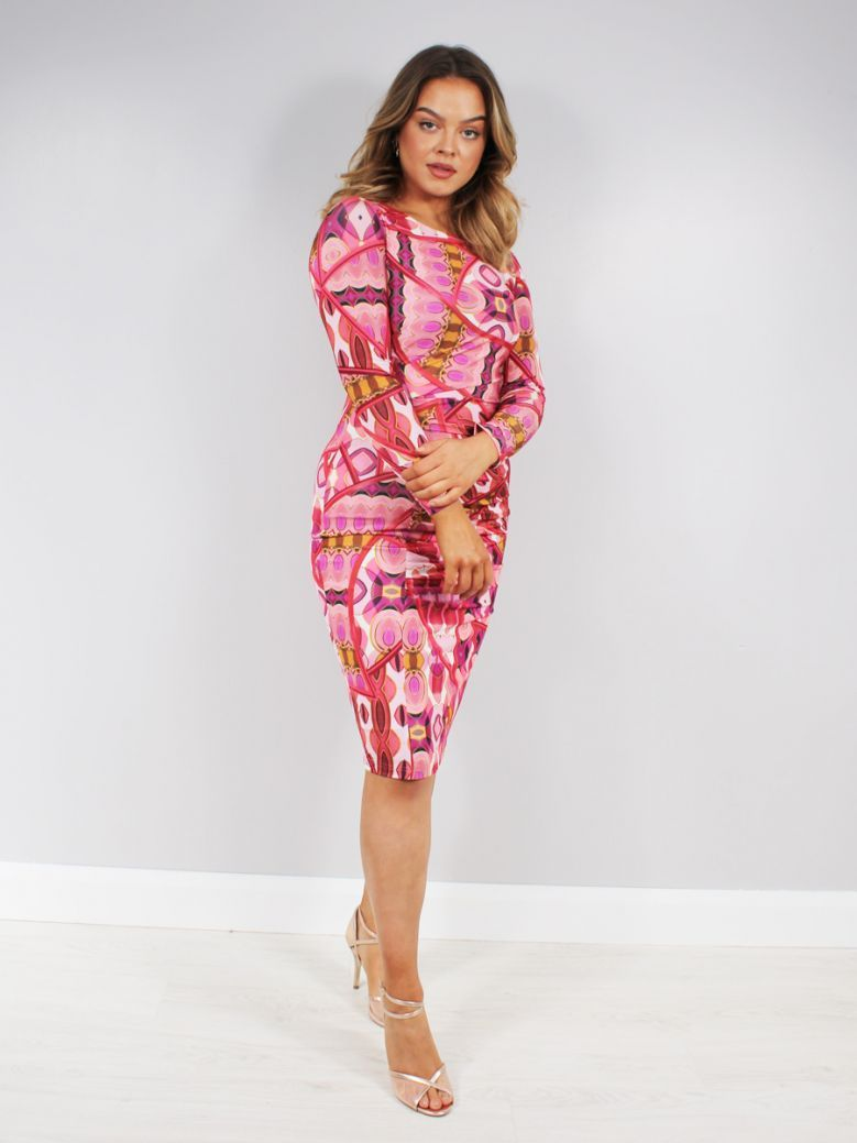 Tia Fitted Dress with Ruching Pink