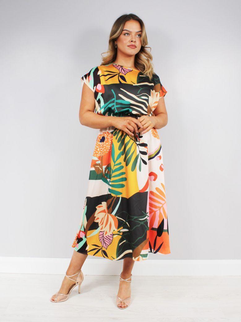Tia Flower Detail Midi Dress Multi