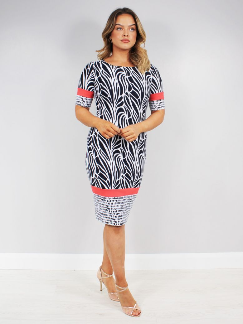 Tia Round Neck Printed Dress Navy