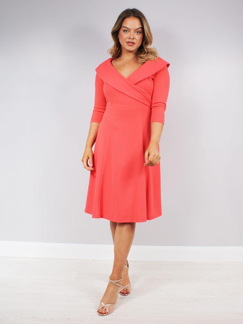 Tia V-Neck Dress Coral