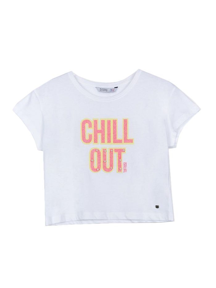 Tiffosi White 'Chill Out' Cropped T-Shirt