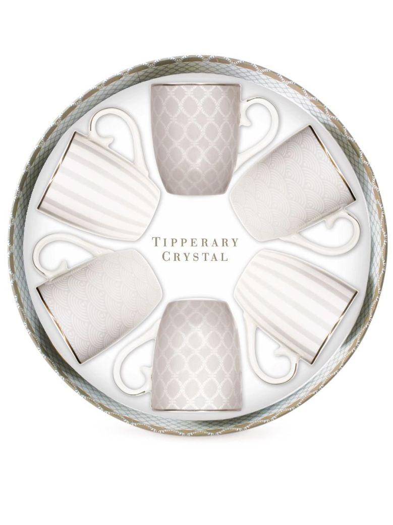 Tipperary Crystal Patterned Set 6 Bone China Mugs Grey