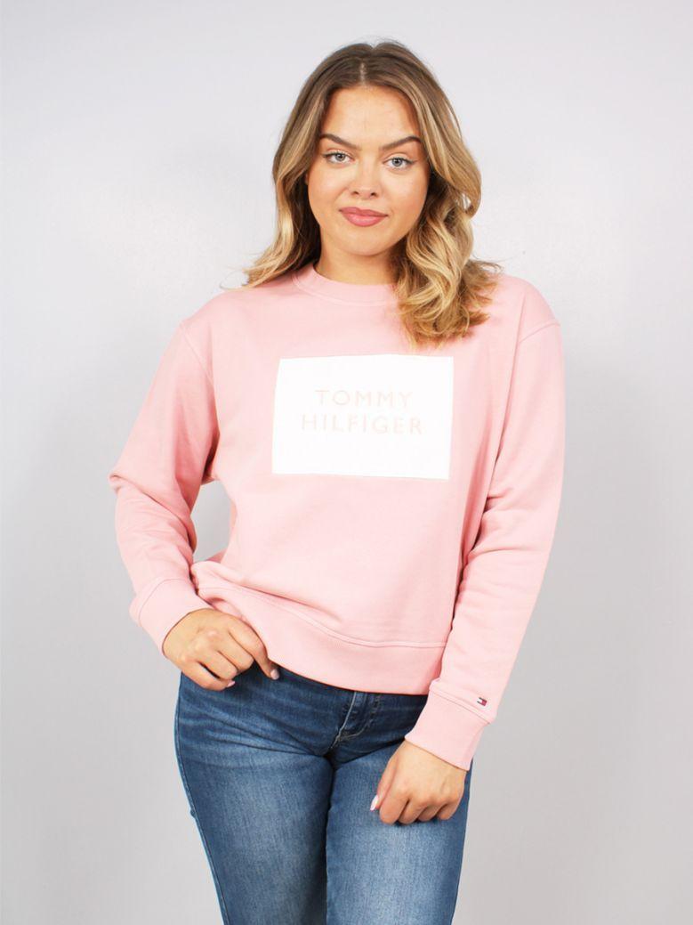 Tommy Hilfiger Box Logo Crew Neck Sweatshirt Pink