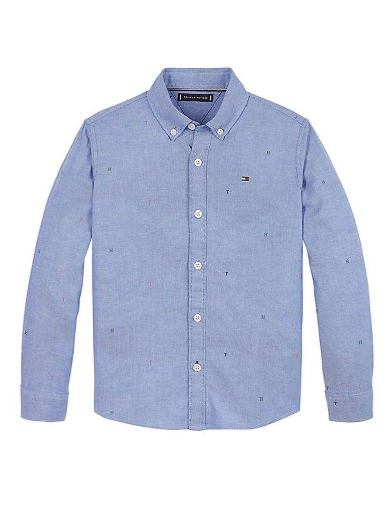 Tommy Hilfiger Monogram Print Oxford Shirt Blue