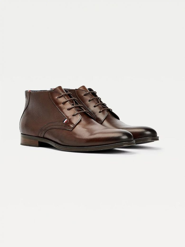 Tommy Hilfiger Casual Leather Lace Up Boots Brown