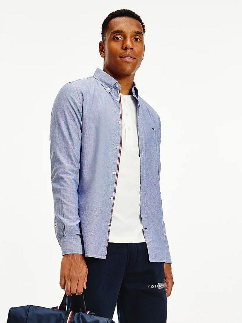 Tommy Hilfiger Cotton Melange Dobby Slim Fit Shirt Blue