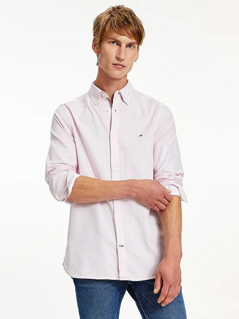Tommy Hilfiger Cotton Melange Dobby Slim Fit Shirt Pink