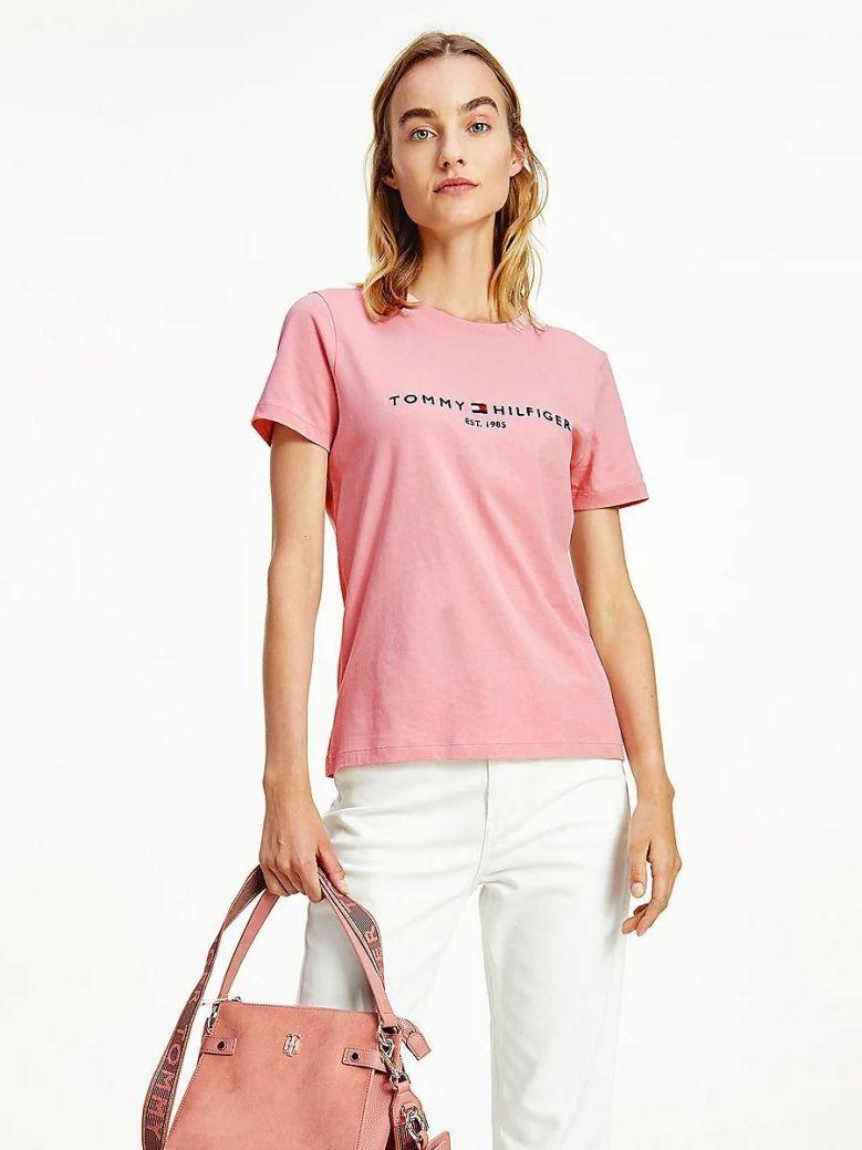 Tommy Hilfiger Essential Crew Neck Logo T-Shirt Pink