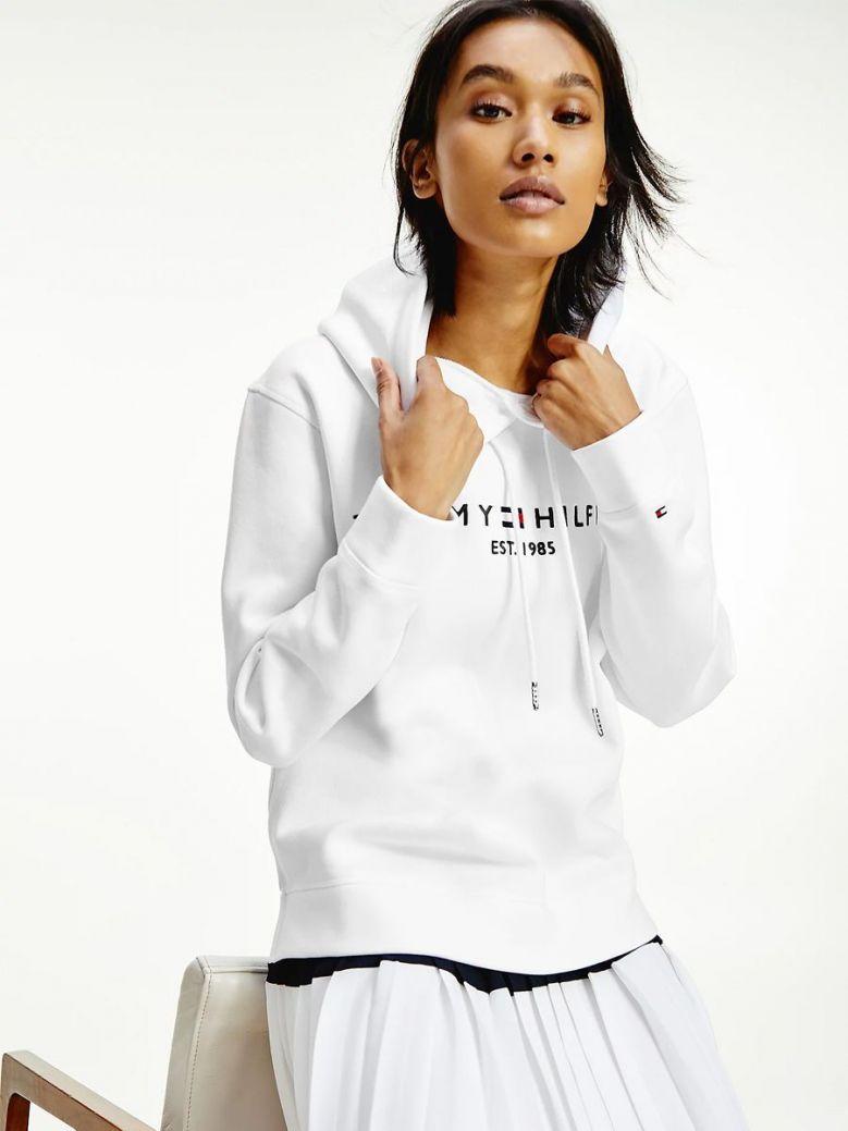 Tommy Hilfiger Essential Fleece Logo Hoody White
