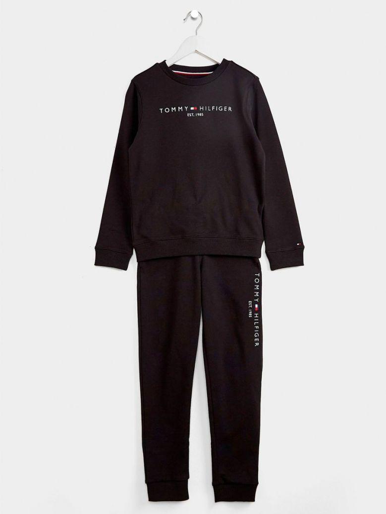 Tommy Hilfiger Essential Sweatshirt And Joggers Set Black