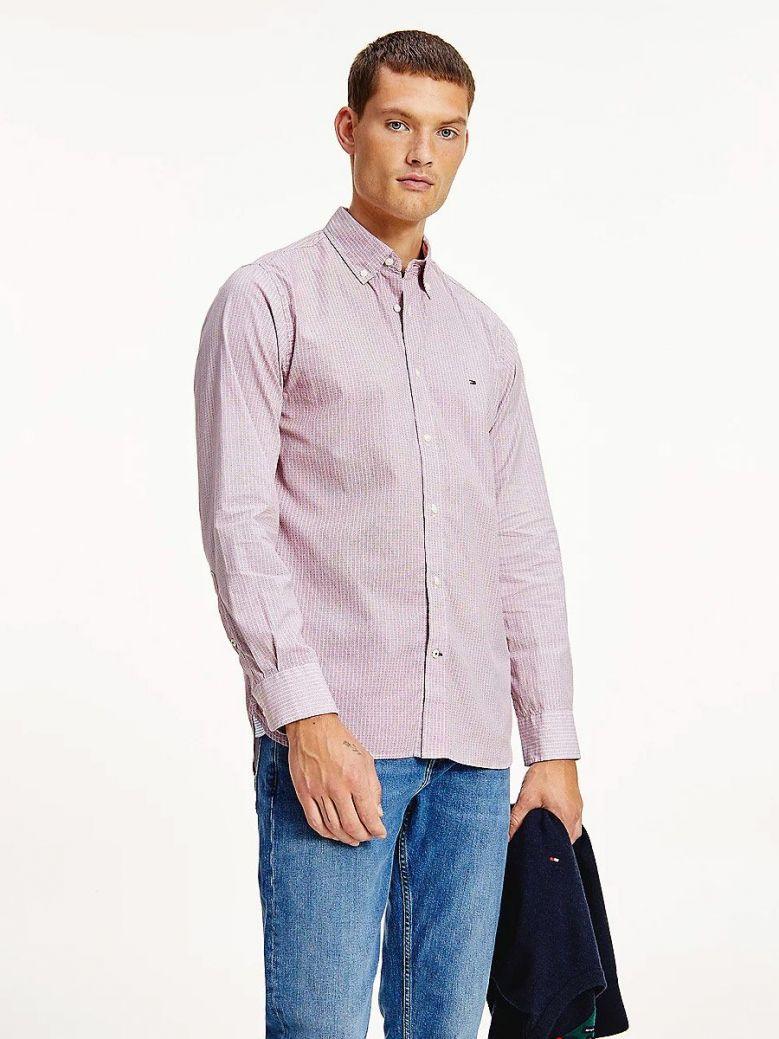 Tommy Hilfiger Geometric Print Regular Organic Cotton Shirt Red