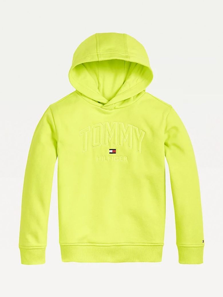 Tommy Hilfiger Logo Embroidery Hoody Lime