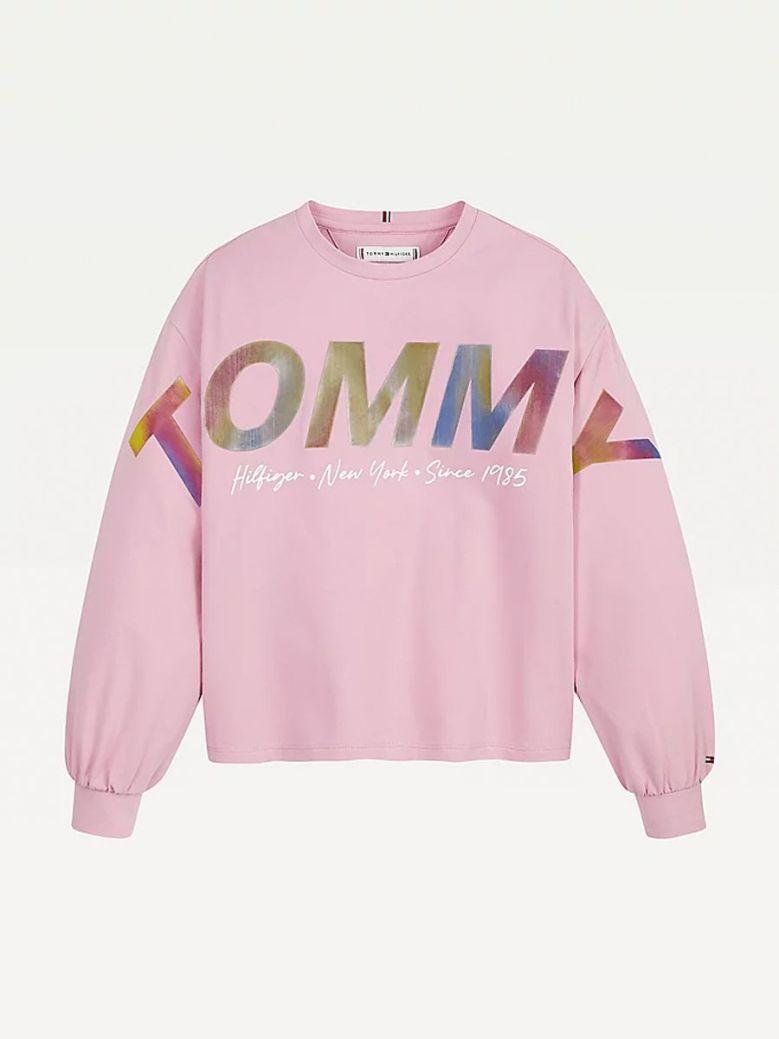 Tommy Hilfiger Metallic Logo Long Sleeve Top Pink