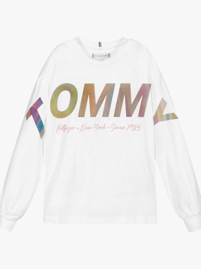 Tommy Hilfiger Metallic Logo Long Sleeve Top White