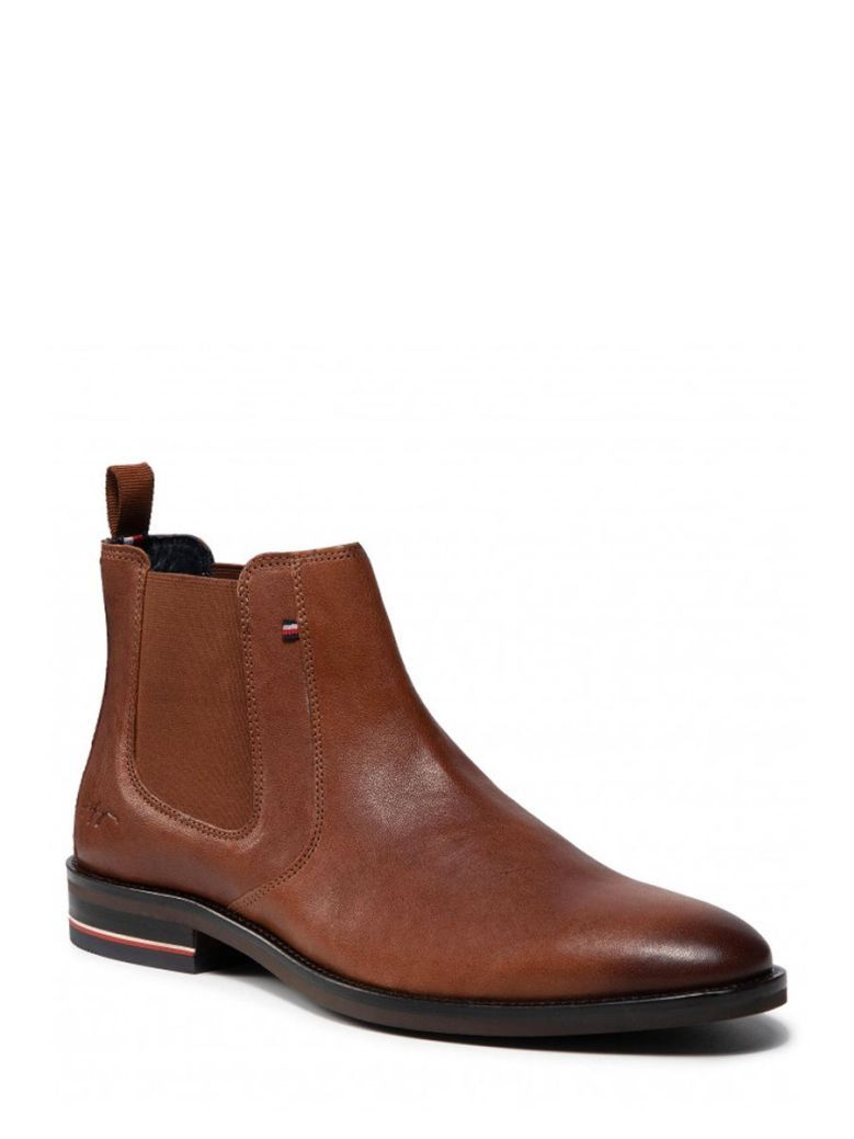 Tommy Hilfiger Signature Leather Chelsea Boots Brown