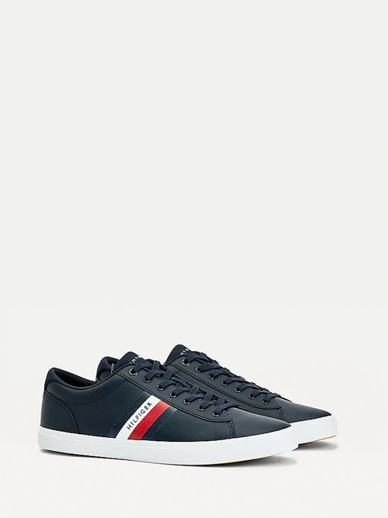 Tommy Hilfiger Leather Vulcanised Trainer Navy