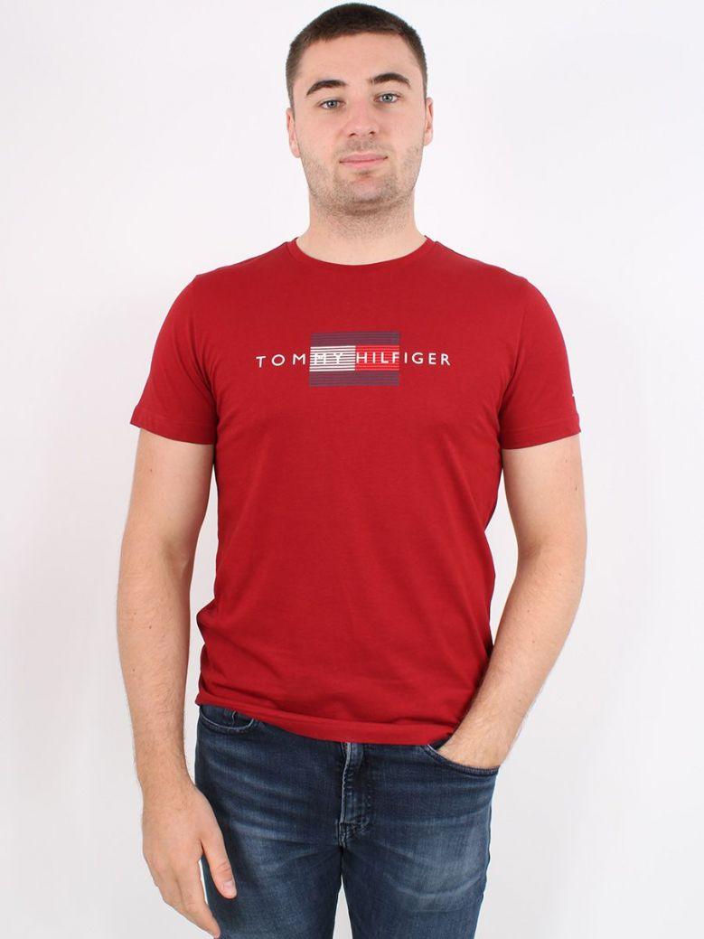 Tommy Hilfiger Lines Logo Organic Cotton T-Shirt Burgundy