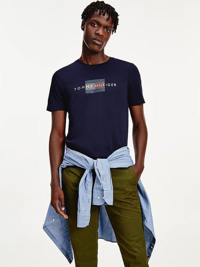 Tommy Hilfiger Lines Logo Organic Cotton T-Shirt Navy