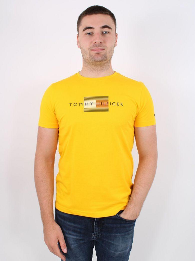 Tommy Hilfiger Lines Logo Organic Cotton T-Shirt Yellow
