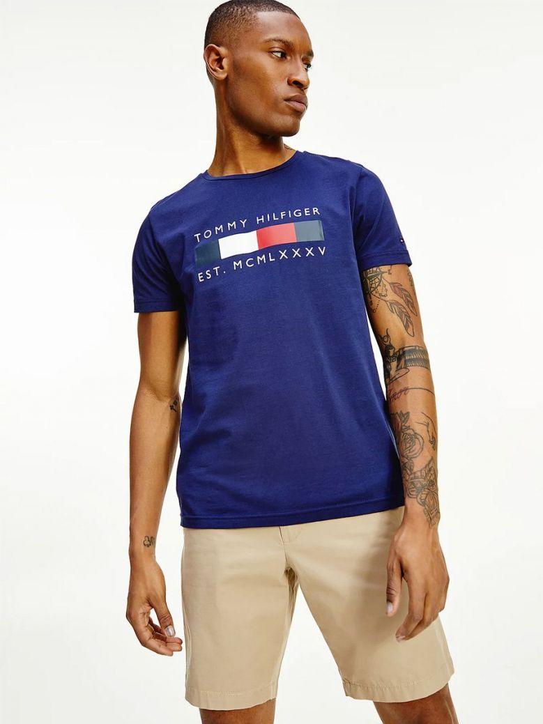 Tommy Hilfiger Logo Organic Cotton T-Shirt Navy