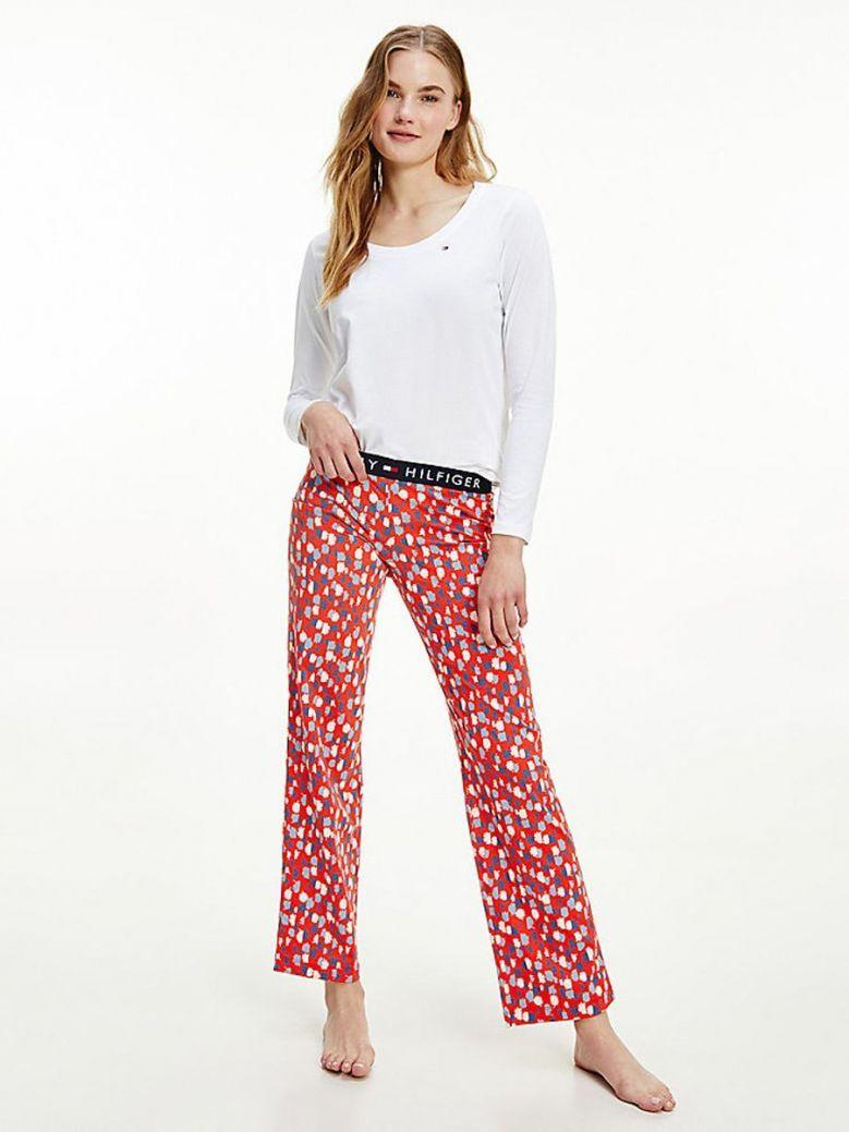 Tommy Hilfiger Long Sleeve Pyjama Set White Floral Burst