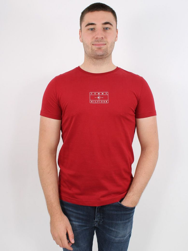 Tommy Hilfiger Organic Cotton Peached Jersey T-Shirt Red