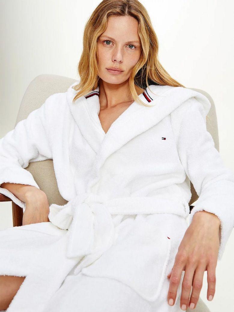 Tommy Hilfiger Organic Cotton Towelling Bath Robe White