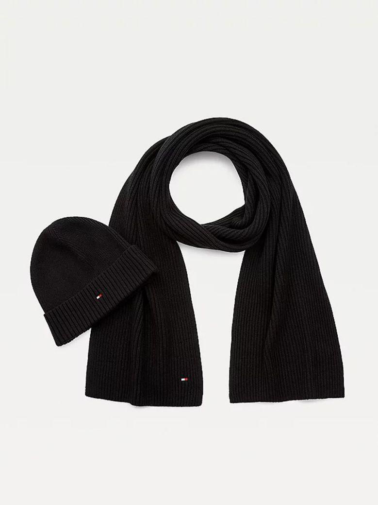 Tommy Hilfiger Pima Cotton Cashmere Beanie and Scarf Gift Set Black