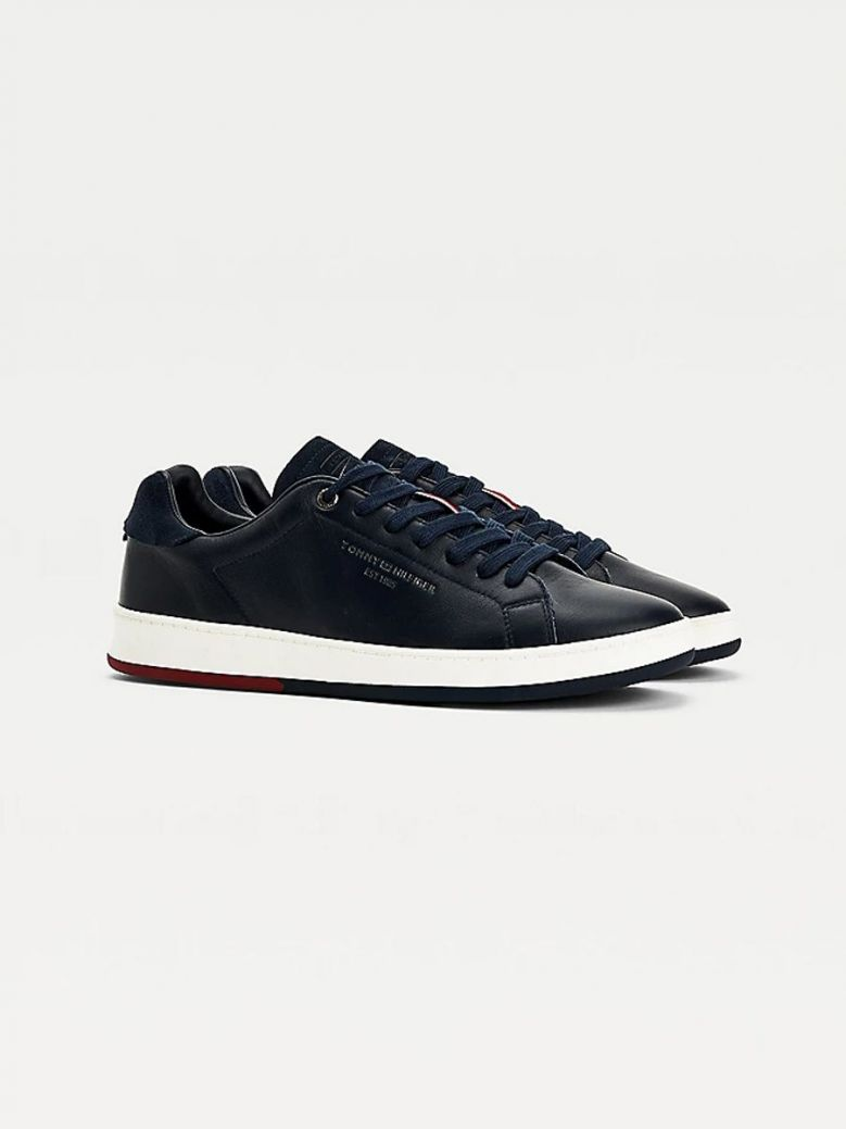 Tommy Hilfiger Retro Leather Cupsole Tennis Trainers Navy