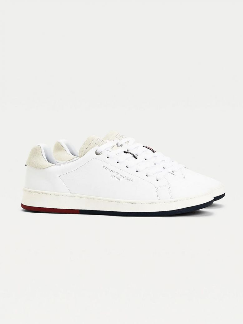 Tommy Hilfiger Retro Leather Cupsole Tennis Trainers White