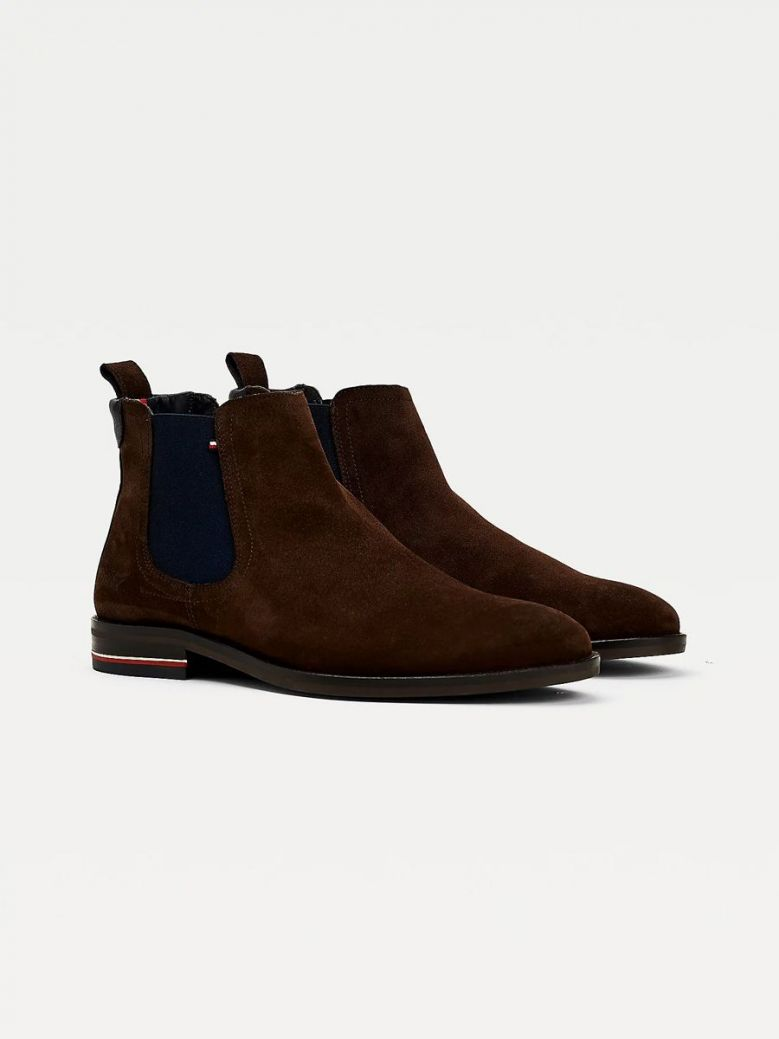 Tommy Hilfiger Signature Suede Chelsea Boots Brown