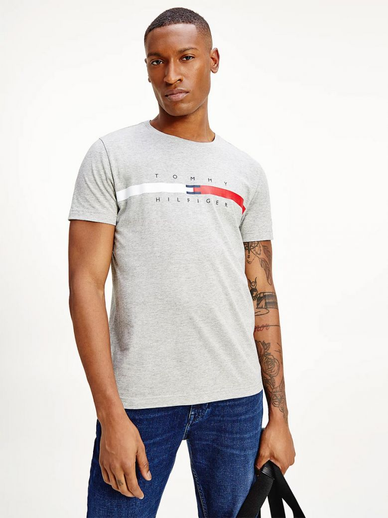Tommy Hilfiger Organic Cotton Signature Tape Logo T-Shirt Grey