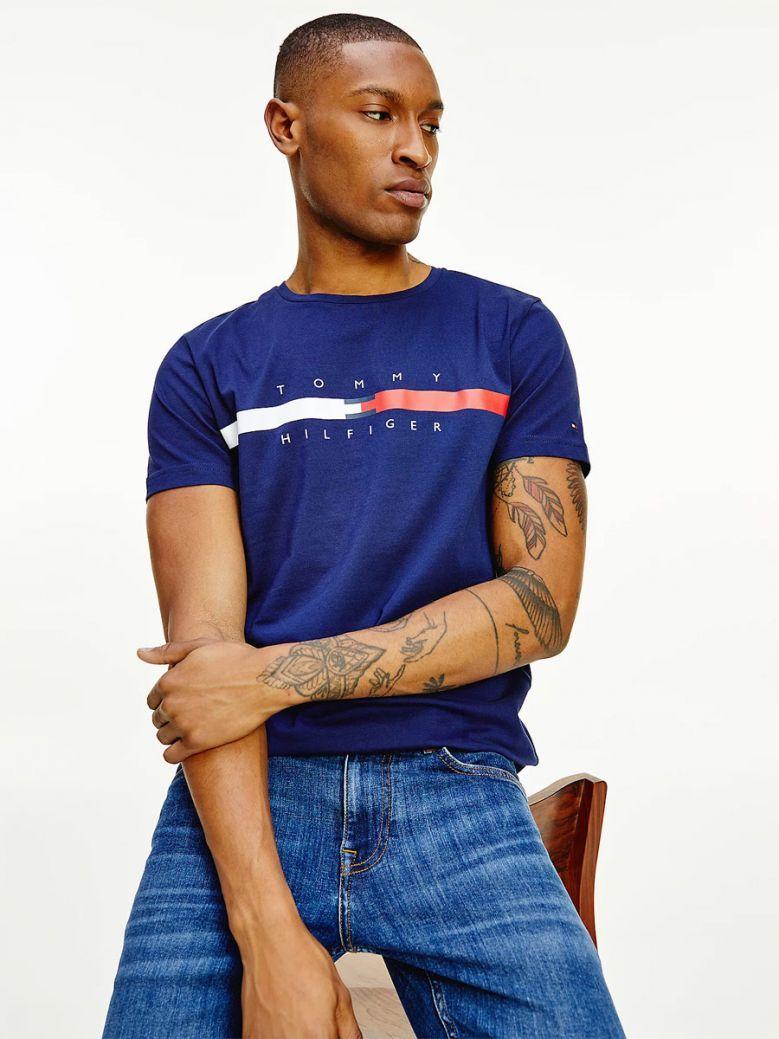Tommy Hilfiger Organic Cotton Signature Tape Logo T-Shirt Navy