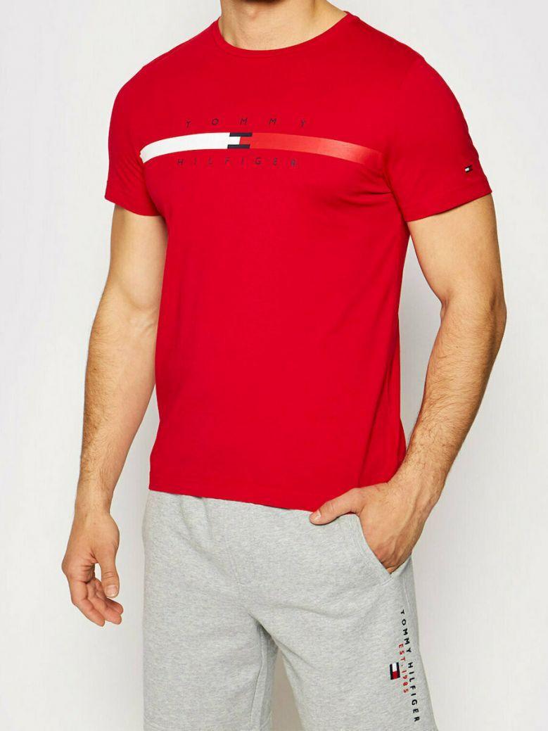 Tommy Hilfiger Organic Cotton Signature Tape Logo T-Shirt Red
