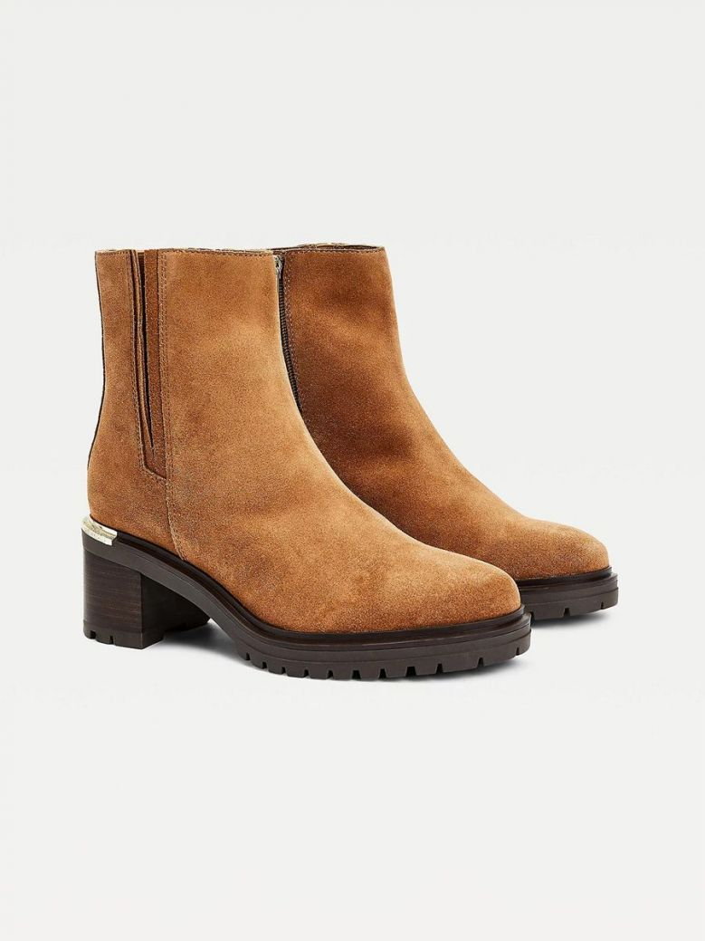 Tommy Hilfiger Suede Block Heel Cleat Boots Tan
