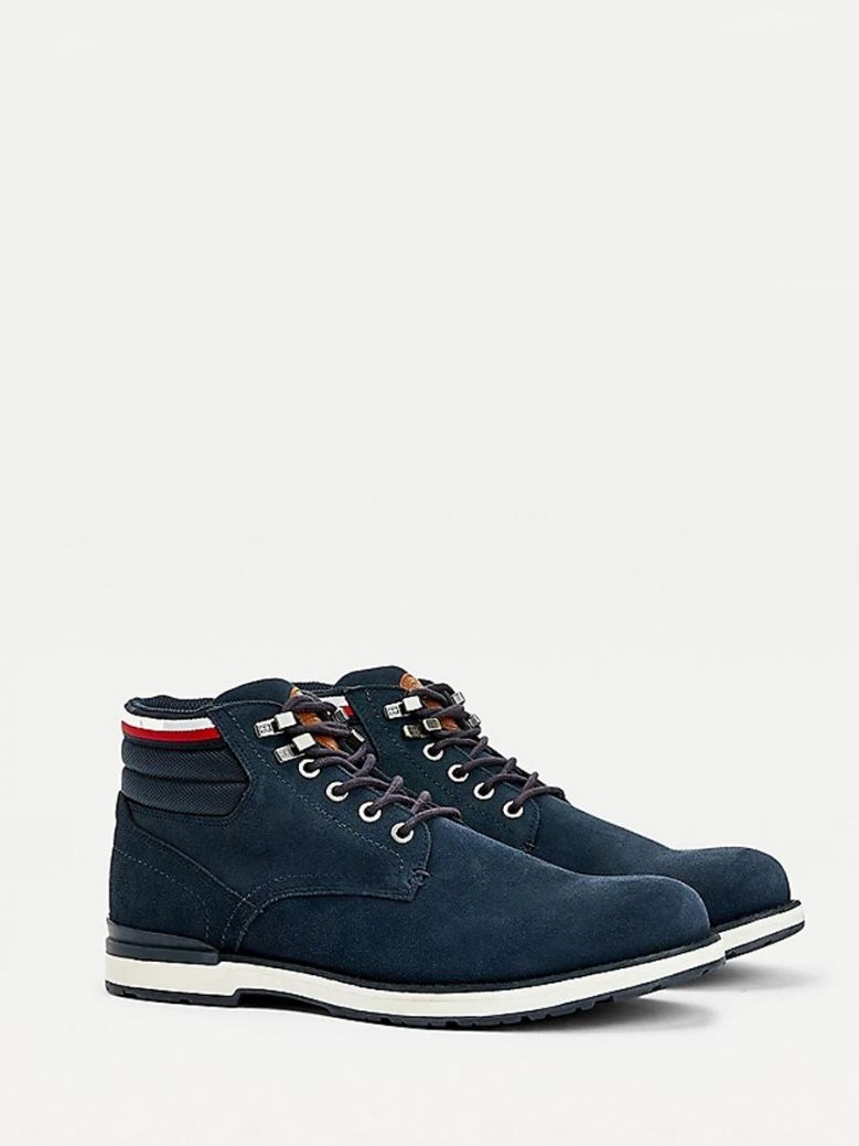Tommy Hilfiger Suede Outdoor Lace-Up Boot Navy